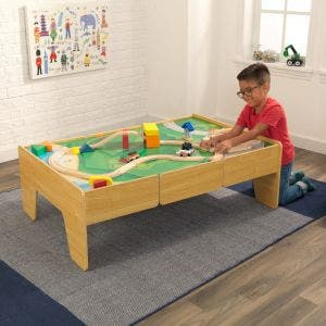 Wooden Train Table - Natural