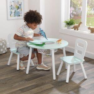 Round Storage Table & 2 Chair Set - Mint