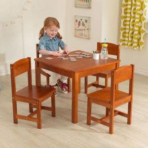 Farmhouse Kids Table & 4 Chair Set - Pecan