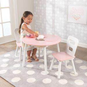 Round Storage Table & 2 Chair Set - Pink & White