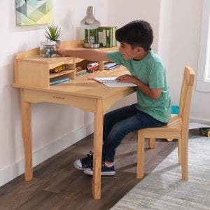 Avalon Desk with Hutch and Chair - Natural