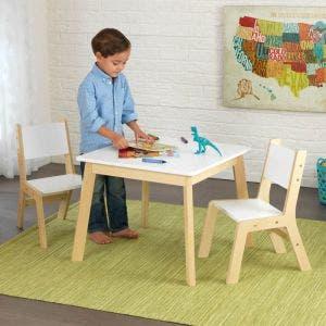 Modern Table & 2 Chair Set - White