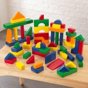 60 piece Wooden Block Set in Primary