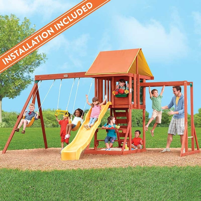 Cedarbrook Ii Wooden Swing Set Assembly Included