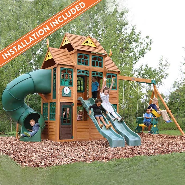 Falcon Ridge Wooden Swing Set Assembly Included