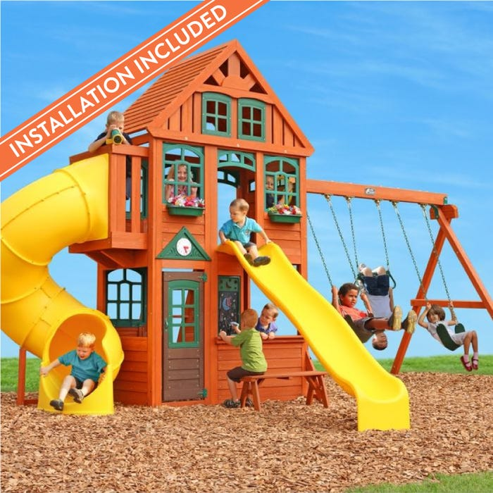 Twin Mountain Lodge Wooden Playset Assembly Included