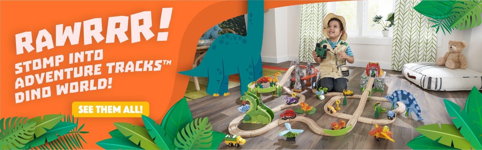 Kid Playing with Kids Dinosaur Train Tracks