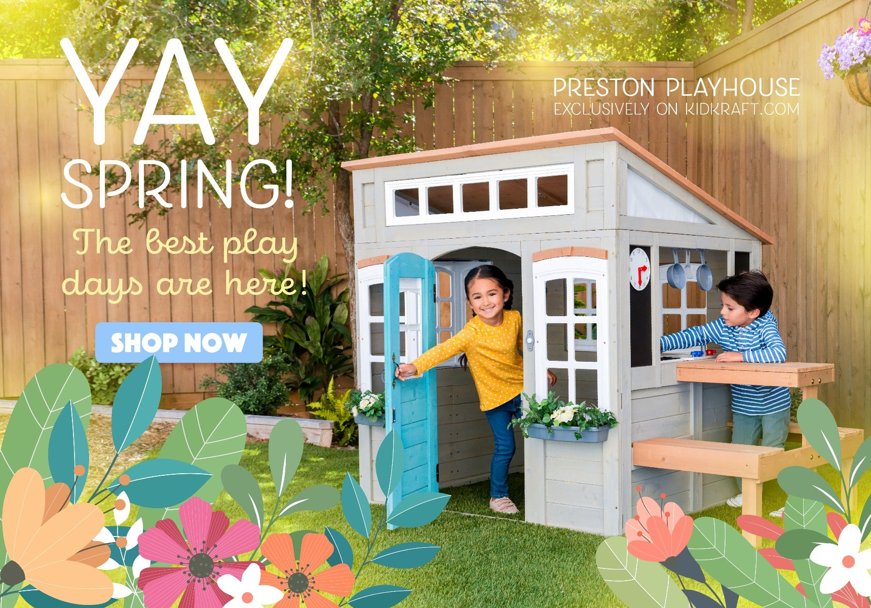 Spring Promotion. Kid's playing in Playhouse