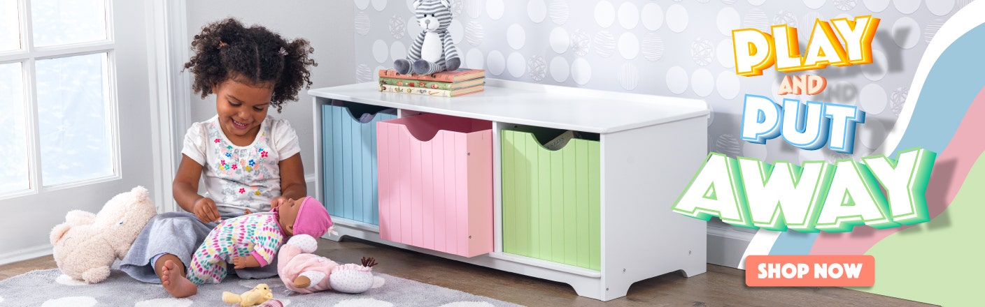 Playroom Refresh. Child in front of storage bench